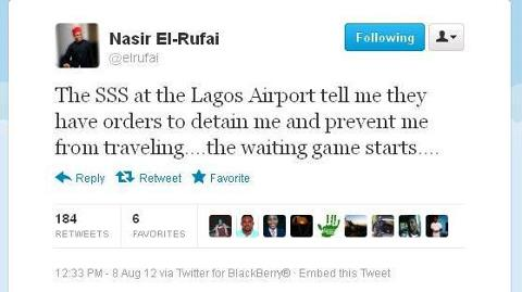 BREAKING NEWS- El Rufai detained by the SSS